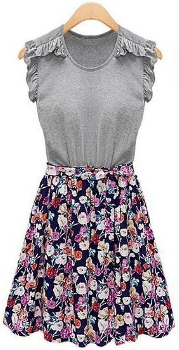 Vintage Flower Print Mini Dresses Vestido De Festa Gray