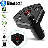 Glumes Bluetooth FM Transmitter for Car|Wireless Radio Transmitter Adapter|Mp3 Player with Hands Free Calls|Quick Charge|Dual USB|Car Charger|for Samsung/iPhone|Good Gift (♦ Black)