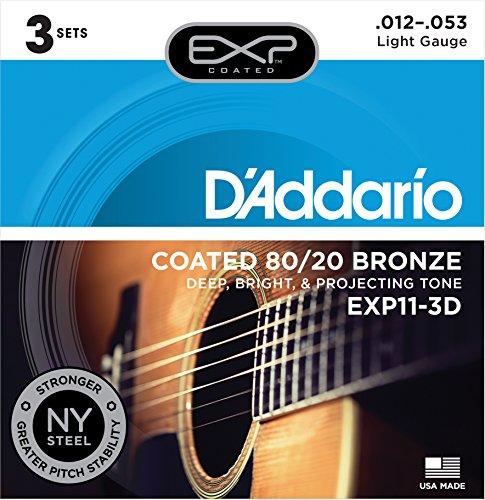 D'Addario Acoustic Guitar Strings (EXP11-3D) (Best Acoustic Guitar Uk)