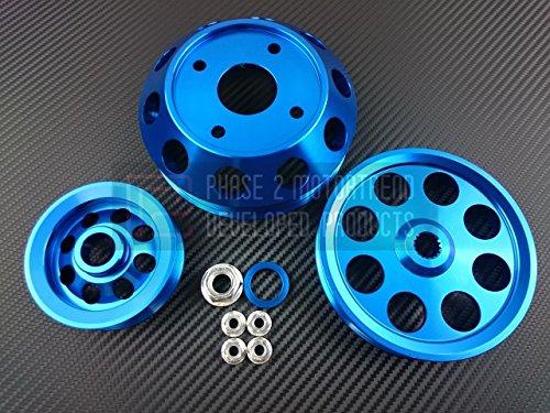 (P2M Nissan S13 SR20DET 3pcs Lightweight Engine Pully Kit Blue)