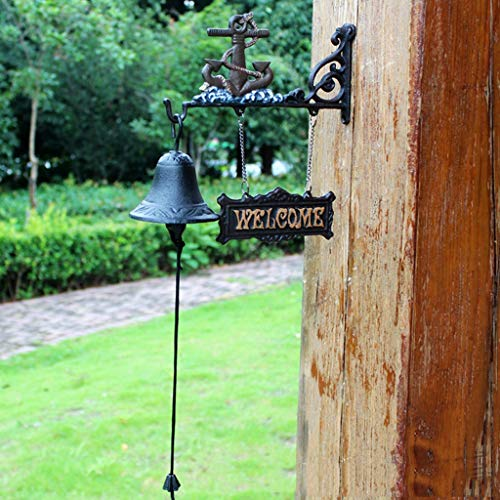 CJH Shovel Vintage Welcome to Double-Sided Listing Doorbell Welcomene Nordic Country Cast Iron Wrought Iron Hand Bell ()