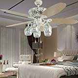 RainierLight European Simplicity White Ceiling Fan Five Drum Leaves Silver Fireworks Lampshade Mute Energy Saving LED Light for Indoor(52-Inch)