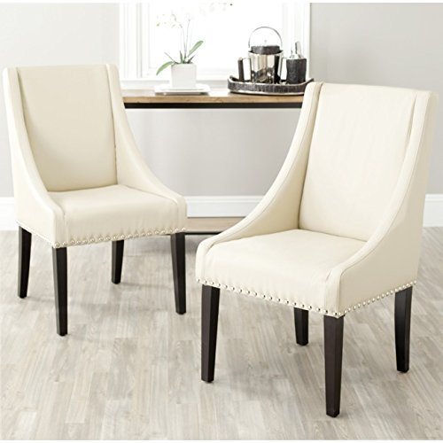 Cheap Safavieh Mercer Collection Austin Taupe Leather Sloping Arm Chair, Set of 2