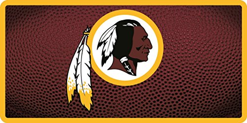 Washington Redskins Team Ball Style Deluxe Acrylic Laser Cut Mirrored License Plate Tag Football (Redskins License Washington Plate Laser)