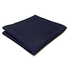 Shlax&Wing Dots Blue Navy White Pocket Square Mens Ties Silk Hanky
