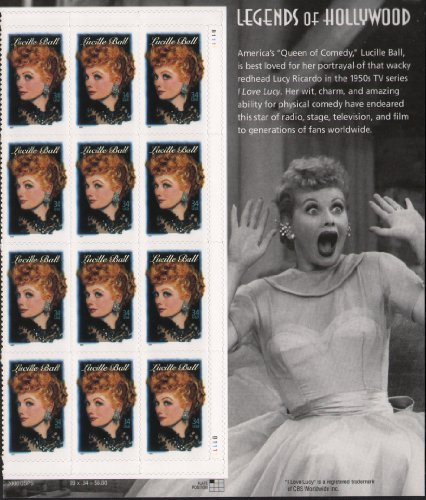 - LUCILLE BALL ~ LEGENDS OF HOLLYWOOD #3523 Plate Block of 12 x 34 cents US Postage Stamps WITH SIDE PANEL OF LUCY