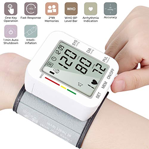 Automatic Wrist Blood Pressure Monitor Voice Broadcast High Blood Pressure Monitors Portable LCD Screen Irregular Heartbeat Monitor with Adjustable Cuff and Storage Case Powered by Battery -White