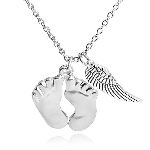 Amazon cute baby feet angel wings pendants necklace handmade cute baby feet angel wings pendants necklace handmade jewelry aloadofball Choice Image