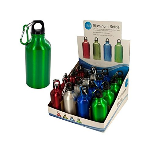 Bulk Buys 15-Ounce Aluminum Water Bottle Counter Top Display Case Of 16