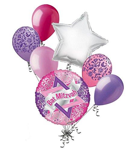 7pc Bat Mitzvah Pink & Lavender Damask Balloon Bouquet Party Decoration Religious]()