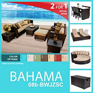 Bahama 19 Piece Outdoor Wicker Patio Furniture Package BAHAMA-08b-BWJZSC