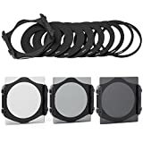 XCSOURCE® 3pcs ND2 ND4 ND8 + Case + 9pcs Adapter Ring + Filter Holder For Cokin P series LF004