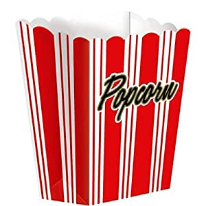 """Movie Night Hollywood Themed Party Large Red Striped Popcorn Boxes Serveware, Paper, 7"""" x 5"""" x 3"""", Pack of 8"""