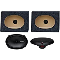 2) Rockford Fosgate R169X2 6x9 130W Car Speakers + 2) Angled 6x9 Speaker Box