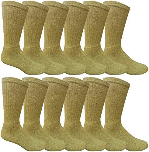 12 Pairs Value Pack of Wholesale Sock Deals Mens Ringspun Cotton 2Tone Twisted Socks, Khaki