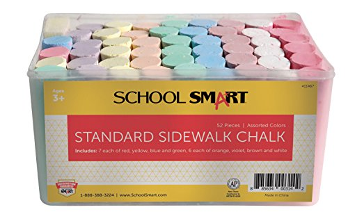 Chalk Walk - School Smart Sidewalk Chalk with Tub, Assorted Colors, Pack of 52