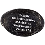 """Engraved Inspirational Scripture Biblical Black Stones collection – Stone VII : Psalm 147:3 : """" He heals the brokenhearted, and binds up their wounds """" For Sale"""