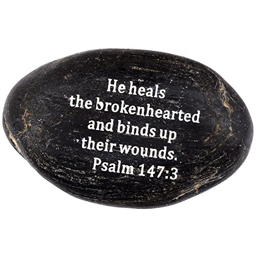 "Engraved Inspirational Scripture Biblical Black Stones collection – Stone VII : Psalm 147:3 : "" He heals the brokenhearted, and binds up their wounds "" For Sale"
