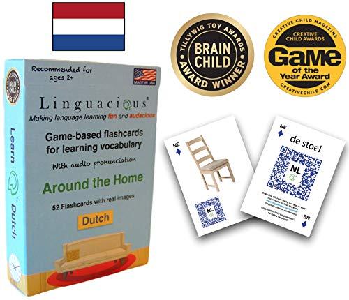 Dutch Card Game - Linguacious Award-Winning Around The Home Dutch Flashcard Game - with Audio!
