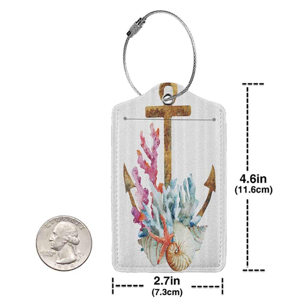 Printed luggage tag Anchor Home Anchor With Corals Seaweed Nature Deep Sea Underwater Life Diving Enjoyment Protect personal privacy W2.7 x L4.6
