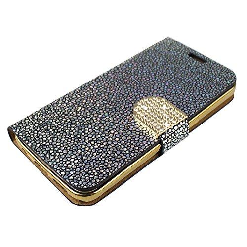 Galaxy S7 Carcasa Tapas, Moon mood Bling Sparkly Galaxy S7 Funda Piel de Cuero con Capas Suave TPU Silicona Caso Móvil Protectora Cubierta Flip Folio Kick Stand Case Para Samsung Galaxy S7 SM-G9300 Li B Plata