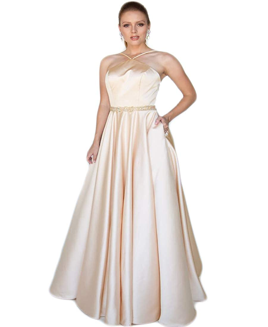 Champagne liangjinsmkj Women's Halter Prom Dress Long Satin Aline Beaded Formal Evening Ball Gown with Pockets