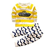 Muium Toddler Infant Baby Kids Cartoon Print Hoodie Tops Shirt+Pants Outfits Boys Girls Clothes Set For 0-3 Years Old (90(Aged 12-24 Months))