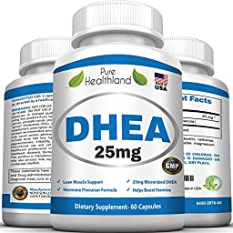 DHEA Supplement Pills 25mg for Men and Women. Ultimate Nutrition to Balance Hormone. Help to Anti-Aging, Increase Energy, Improve Mood, Libido Booster for Male and Female, Protect Immune System.