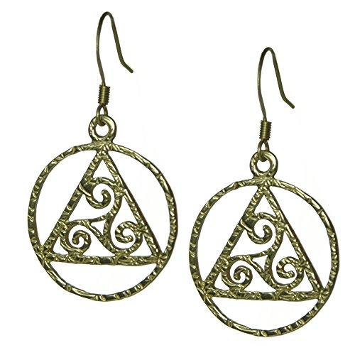 Alcoholics Anonymous AA Symbol Pendant, #1191, AA Symbol Earrings with Celtic Symbol (brass) (Pendant Celtic Brass)