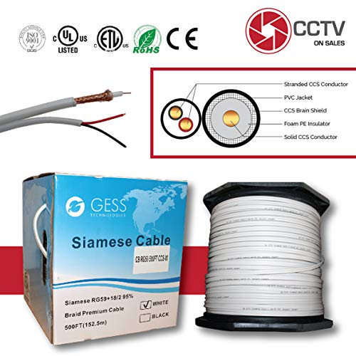 RG59 Siamese 500FT Coaxial CCTV Combo 20 AWG CCA RG59+18/2 18AWG Real ETL Listed Power Cable Surveillance Spool Box White ()