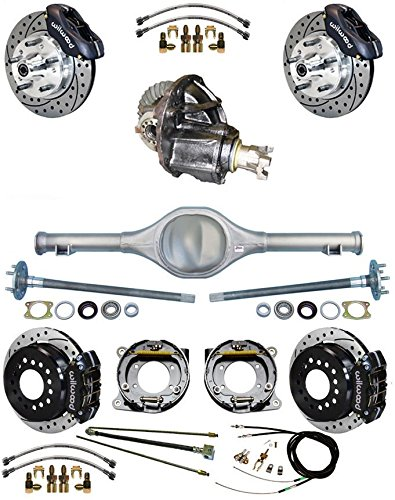NEW SUSPENSION & WILWOOD BRAKE SET WITH CURRIE REAR END & AXLES, POSI-TRAC 3RD MEMBER, LINES, PARKING BRAKE CABLE, 11' DISCS, RED CALIPERS, 1965 1966 FORD MUSTANG RANCHERO MERCURY COMET 11 DISCS Southwest Speed