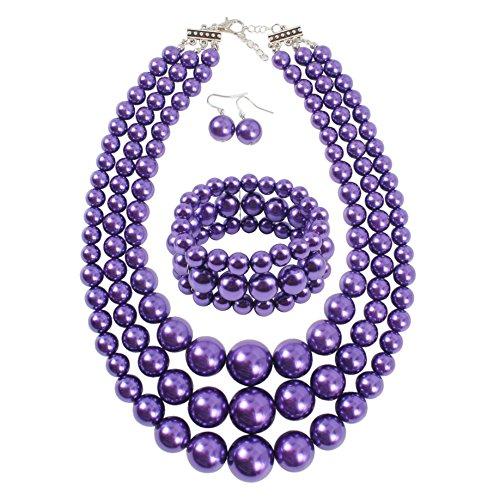 3 Purple Strand - KOSMOS-LI Women's 3 Layer Simulated Purple Pearl Statement 18