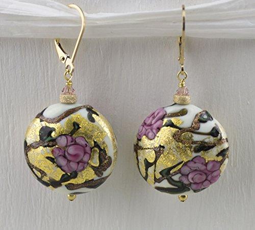 Pink Millefiori Murano Glass Earrings