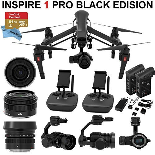 Amazon DJI Inspire 1 PRO Black Edition Bundle With Zemuse X5 4K Camera 2 Controllers Batteries Professional Case 64GB Extreme MicroSD Card And