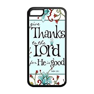 5C Phone Cases, Bible Verse Psalm 118:1 Hard TPU Rubber Cover Case for iPhone 5C