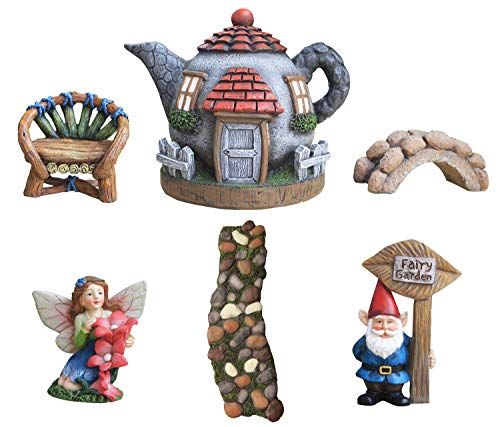 LA JOLIE MUSE Fairy Garden Accessories Kit 6pcs, Miniature Figurines House Set, Hand Painted Fairies & Gnome Statues for Outdoor or Home Decor Gifts (Fairy Gnome Garden Set 6)