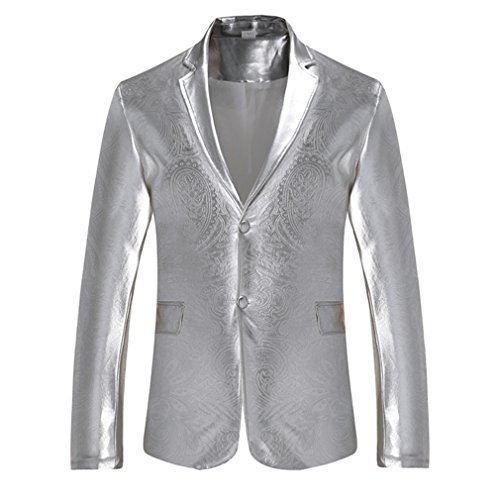 aa966db5fba7 dewnkks Mens Blazers Fit Blazer Hombre Single Breasted Party Wedding Suit  Jacket Sliver XXL by dewnkks