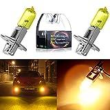 cciyu Fog Light, H3 55W Golden Yellow 3000K Xenon Halogen Light Bulbs(Pack of 2pcs)