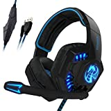 NOSWER Stereo Gaming Headset with Single 3.5mm Jack,Wired LED Lighting Over Ear Headband Headphone with Microphone for PC Laptop MAC PS4 Mobile Phone