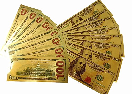 10pc 24K $100 US Gold Banknotes Dollar Currency World Banknote Paper Money Collectible Gifts (Dollar Note)