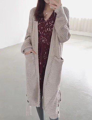BaiChunYunYi Damen Lang Strickjacke-Ausgehen Lässig Alltäglich Einfach Niedlich Solide V-Ausschnitt Langarm Baumwolle Frühling Herbst Dünn Mittel