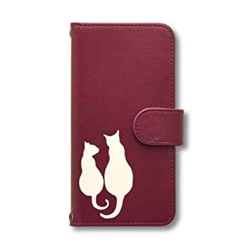 ce733e52d8 猫 (ペア) スマホケース Android 手帳型カバー ワインレッド Xperia XZ1 701SO SO-