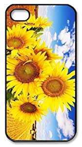 Art Fashion Black PC DIY Generation Back For Ipod Touch 5 Case Cover with Sunflower