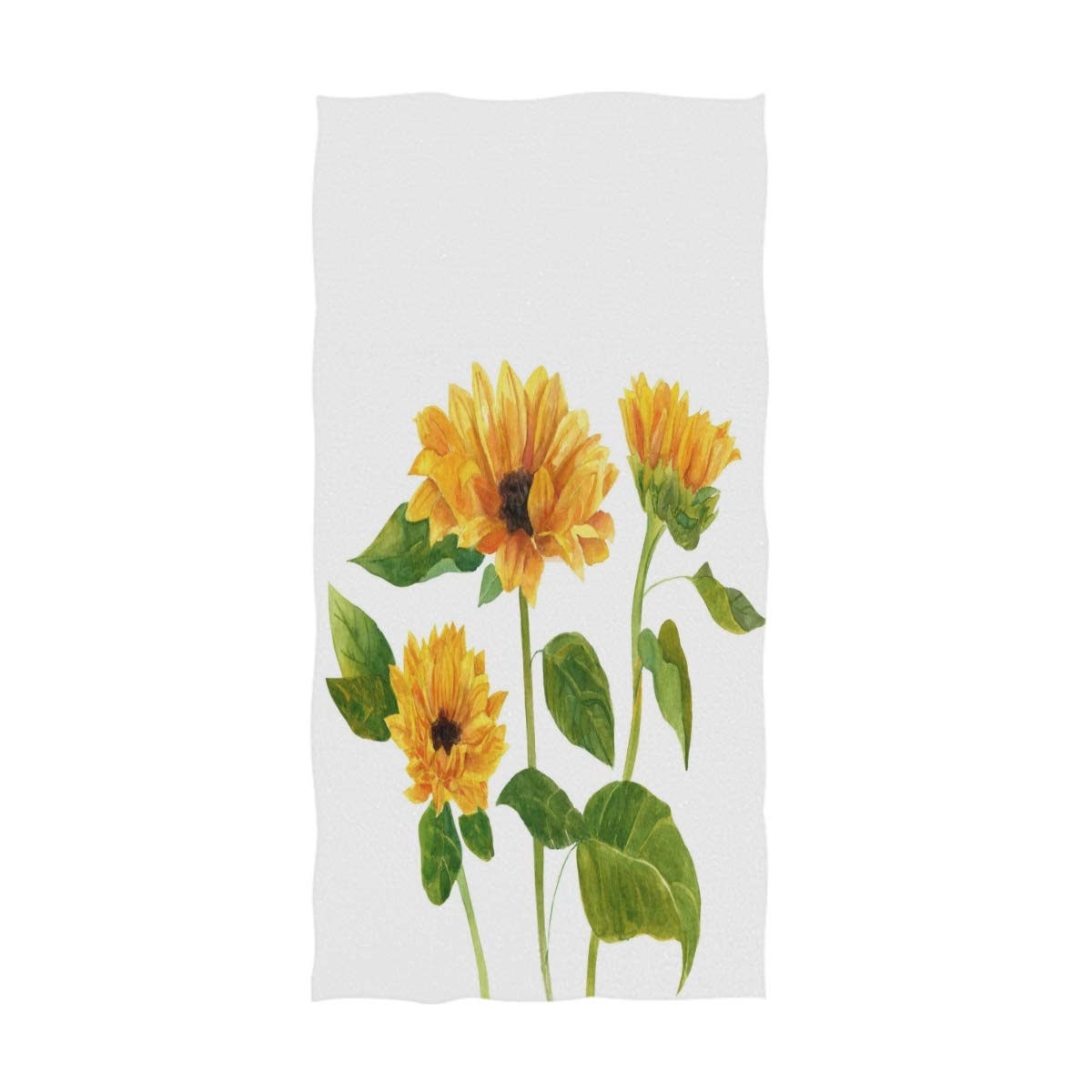 Wamika Sunflowers Hand Towels Autumn Sunflower Poppy Bath Bathroom Towel Multipurpose Fingertip Towels Highly Absorbent for Bath,Hand,Face,Gym,Spa,30 X 15 Inch
