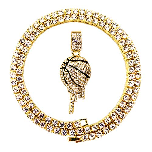 07279d5eb03 HH Bling Empire Mens Iced Out Hip Hop 14K Gold Artificial Diamond NBA  Basketball Related Pendant cz Tennis Chain Necklace 22 Inch (Basketball -1)