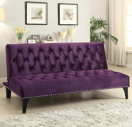 coaster-500235-futons-transitional-sofa-bed-with-velvet-upholstery-sinuous-spring-base-and-nailhead-