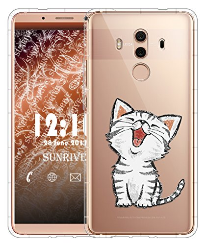 Funda Para Huawei Mate 10 Pro 6,0 pulgadas, Sunrive Silicona Slim Fit Gel Transparente Carcasa Case Bumper de Impactos y Anti-Arañazos Cojín de aire Espalda Cover(tpu Mármol negro) tpu Gato 2