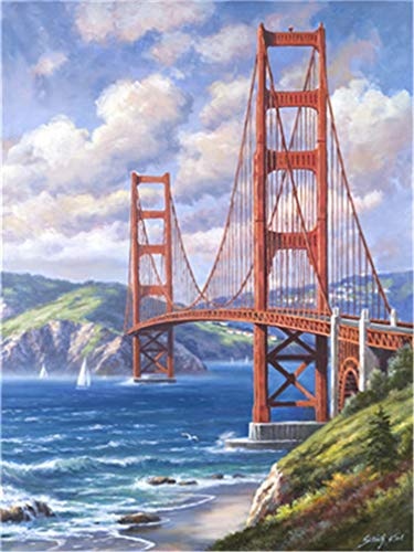 (YEESAM ART DIY Paint by Numbers for Adults Beginner Kids, Sea Mountain Bridge Scenery 16x20 inch Linen Canvas Acrylic Stress Less Number Painting Gifts (Bridge, with Frame))