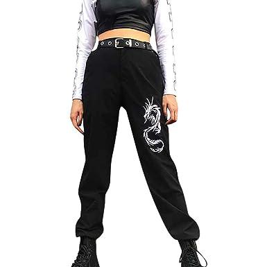 Honestyi - Pantalón de Mujer Estilo Calle, Cintura Alta, Bolsillos ...