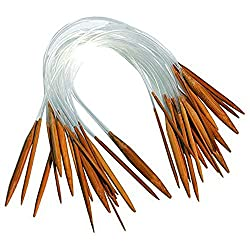 ZXUY 18 Pairs 16'' (40cm) Circular Carbonized Bamboo Knitting Kits Needles Set (2.0mm - 10.0mm)